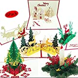 3D Christmas Cards pop up | Set of 6 Xmas Greeting Cards & Envelopes | Funny Personalized Holiday PostCards | Handmade thank you card Gifts, Tree, Snowman, Reindeer,Candle
