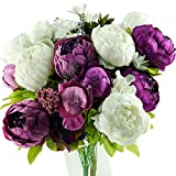 FiveSeasonStuff Vintage Artificial Peonies Silk Peony Flowers and Hydrangeas for Wedding Bridal Home Décor – Beautiful Floral Centerpiece Arrangement with 2 Bouquets (Bloom Purple and White Mix)