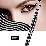 Delineador de ojos líquid, Impermeable y largo duradera doble cabeza Eyeline lápiz estrellas flores de la luna forma del corazón herramienta de decoración de maquillaje(Corazón)