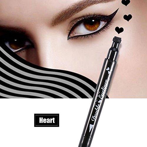 2in 1 Doppelt Liquid Eyeliner, Langlebige Wasserdicht Eyeliner Bleistift Stempel Augen Dekorations Kosmetik, Herz/Blume/Mond/Satr Form Stempel Stift(Herz)