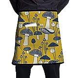 Katrine Store Patrón de Setas Unisex Moda Medio Cuerpo Cintura Delantales de Chef con Bolsillo Cocina Delantales Cortos