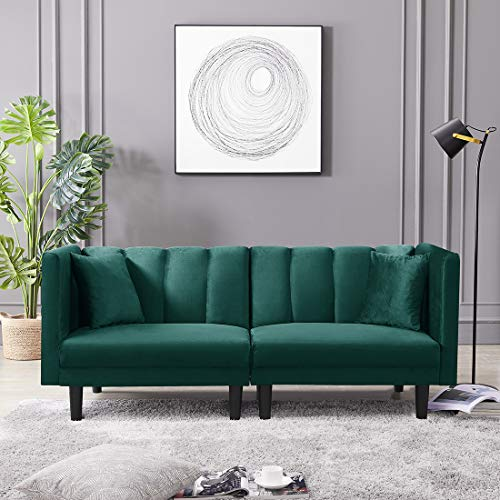 Velvet Futon Sofa Bed with Two Pillows, Modern Sleeper Sofa Couch with 3 Adjustable Angles, Convertible Small Loveseat for Living Room, Dark Green