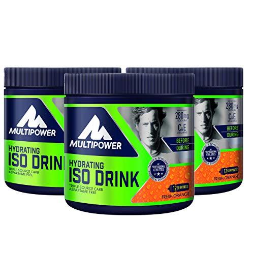 Multipower Hydrating Iso Drink (isotonisches Getränkepulver mit L-Carnitine – Sportgetränk ohne künstliche Süßstoffe), Fresh Orange (3 x 420g)