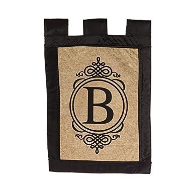 "Evergreen ""B"" Monogram Double-Sided Burlap Garden Flag - 12.5""W x 18 H"