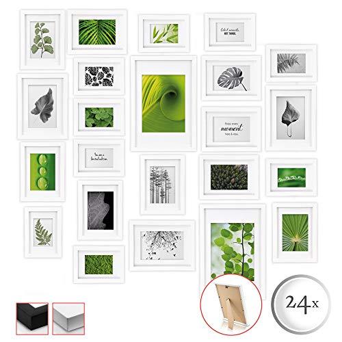bomoe 24er Set Bilderrahmen Nature Bilder-Collagen Fotorahmen aus Holz, Plexiglas, Metall-Aufhängung, Aufsteller & Passepartout - 10x 10,5x15cm / 8X 13x18cm / 4X 15x20cm / 2X 20x30cm - Weiß