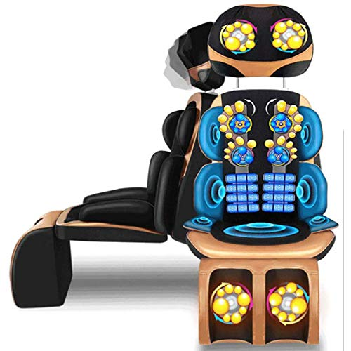 Back Neck Massager Shiatsu Massage Chair for Seat Cushion Pad Full Body-8D Adjustable Electric Mat Mattress Deep Kneading Vibration Heat-Relieve Muscle Pain Waist Hip Leg