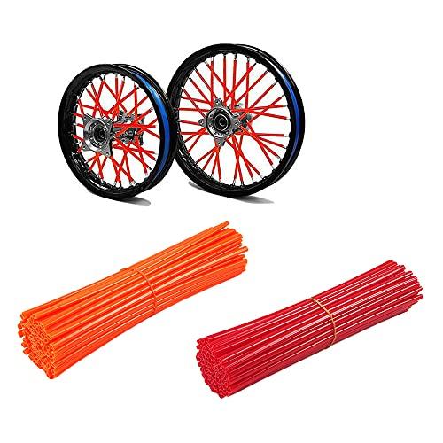 144 Pezzi Copriraggi Moto Motocross Cerchioni, Copri Raggi Copriruota Pelli Coperchio Avvolgente Decorazione Protezione Tubo Moto Motocross Pit Dirt Bike Bici Mtb (Rosso + Arancio)