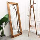 """Rustic Wood Framed Floor Mirror, Large Dressing Mirror for Bedroom, Leaning Against Wall/Wall-Mounted, Brown, 65""""x24"""""""