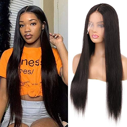 DaiMer Straight Human Hair Wigs Hair Tied T Part Wig for Black Women Brazilian Front Lace Wig 13x5x0.5 Deep Middle Part Lace Wig Pre Plucked with Baby Hair (26 inch,150% Density)