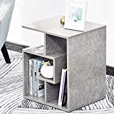 bakaji libreria bassa scaffale 4 ripiani in legno mdf tavolino caffè laterale divano design moderno arredamento per soggiorno salotto casa o ufficio dimensione 45 x 40 x 55 cm (grigio)