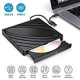 Grabadora DVD Externa,PiAEK Lector DVD Portátil USB 3.0 y Tipo C 2en1 Óptico CD/DVD/-RW/-RW SuperDrive para Win10/XP/Win7/Win8/Vista,Laptop, All Mac OS System,Macbook Air/Pro,iMac,PC