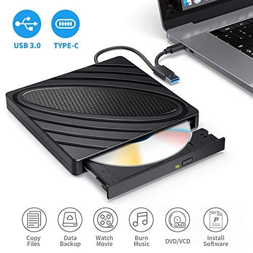 DVD Laufwerk Extern,CD DVD Brenner Extern USB 3.0 und Typ-C-Schnittstelle Portable Slim RW DVD/CD Player Superspeed Tragbare CD Laufwerk für Win10/XP/Win7/Win8/Vista,Laptop, All Mac OS System