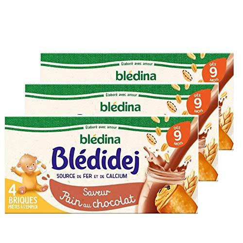 Blédina Blédidej, Céréales bébé Lactées Pain au Chocolat, Dès 9 Mois, 250ml (Lot 3x4 briques)