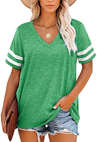 Angerella Womens Short Sleeve Shirts Casual V Neck Summer Tops Loose Fit Green T-Shirt L