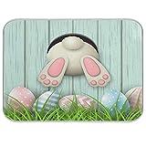 Happy Easter - Alfombrillas de secado para cocina, 40,6 x 45,7 cm, diseño de conejo, girasol, absorbente, lavable a máquina, secado rápido, escurridor de platos, alfombrilla para encimera de cocina