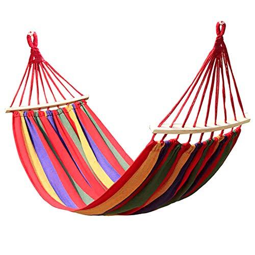 Bewegliche Hängende Hängematte Faule Stuhl Im Freien Spielraum Camping Verandaschaukel Thick Leinwand Bett Innen Zuhause Schlafzimmer Hängematten Mit Curved Stick (Red 190 * 80cm)