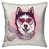 Funda de almohada cuadrada de dibujos animados Hipster Husky Dog con corazones Gafas de sol y bufanda Moda Animal Art Print Rosa Crema Negro Fundas de cojín Fundas de almohada para sofá Dormitorio Coc