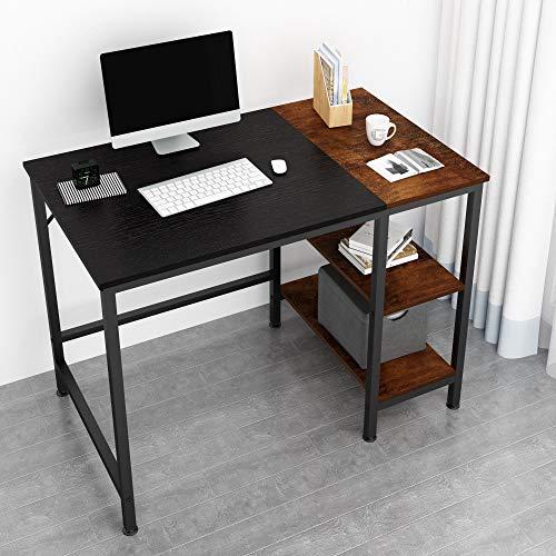 JOISCOPE Computertisch, Laptop-Tisch, Arbeitstisch mit Holzregalen, Tisch im Industriestil aus Holz und Metall,100 x 60 x 75 cm(Schwarzes Finish)