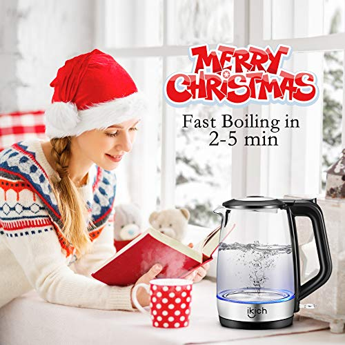 iKich Glass Electric Kettle 1.7L Eco Cordless Glass Kettle Fast Boiling Quiet BPA Free Water Boiler Tea Kettle with LED Indicator, Auto Shut Off and Boil-Dry Protection, 2200W