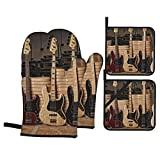 Guitar Bass Music Musical Instruments Oven Mitts and Pot Holders 4pcs Set, Kitchen Oven Gloves of Heat Resistant, Microwave Gloves for Baking Cooking Grilling BBQ