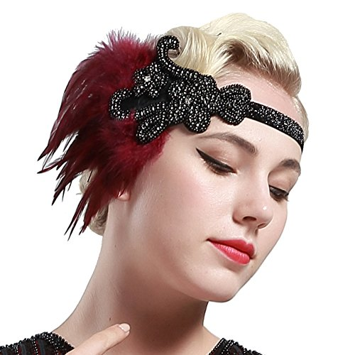 BABEYOND 1920s Flapper Headpiece Roaring 20s Great Gatsby Headband Vintage Feather Headband 1920s Flapper Gatsby Hair Accessories for Party (Black-style2)