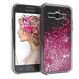 EAZY CASE Hülle kompatibel mit Samsung Galaxy J1 (2015) Schutzhülle mit Flüssig-Glitzer, Handyhülle, Schutzhülle, Back Cover mit Glitter Flüssigkeit, aus TPU/Silikon, Transparent/Durchsichtig, Pink
