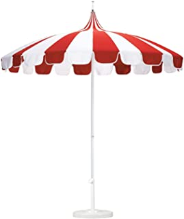 8.5 ft. Patio Umbrella in Pacifica Jockey Red and Natural Fabric