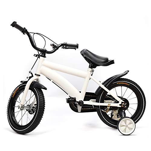 Kinderfahrrad 14 Zoll Jungen Mädchen 3 Rad Fahrrad ab 3-6 Jahre, mit Abnehmbare Stützräder (Weiß)