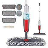 MEXERRIS Microfiber Spray Mops For Floor Cleaning, Wet Dry Dust Hardwood Kitchen Floor Mop With 410ML Refillable Bottle 360°Rotatable Mop For Laminate Wood Tiles Include 3 Reusable Pads and 1 Scrubber