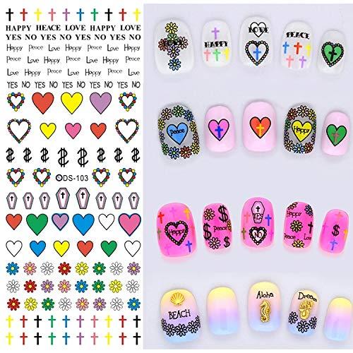Autocollants pour ongles PLT DS103-126 5 PCS 14 modèles de transfert d'eau de conception beauté bricolage autocollant nail art Harajuku accessoires de décoration nail art, couleur à la livraison aléat
