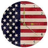 HEOEH Reloj de pared decorativo de cuarzo silencioso sin garrapatas de 9.9 pulgadas, funciona con pilas con la bandera de Estados Unidos