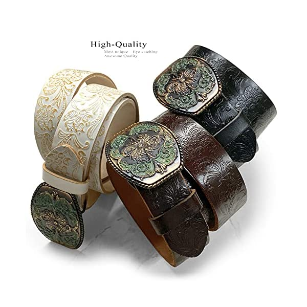 Western Full Grain Genuine Leather Belt With Floral Engraved Buckle 3