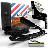 Kit barba hombre Sapiens Barbershop - Navaja de afeitar barbero, Cepillo barba, Peine barba, Plantilla barba, Bolsa de tela + 5 cuchillas de afeitar Astra - Set de accesorios para barba