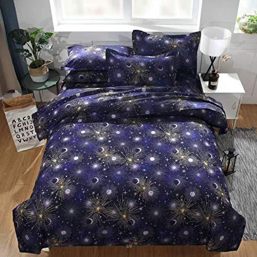 HDBUJ beddengoed van zachte vezels, vuur patroon, onnetjes en elegant, dekbedovertrek met twee bijpassende kussenslopen, diepblauw