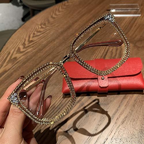 Gafas De Sol Gafas De Sol Cuadradas Transparentes A La Moda con Montura De Metal, Gafas De Gran Tamaño para Mujer, Montura De Anteojos para Hombre, Gafas Lisas Nerd, Tonos Claros 1820Gold
