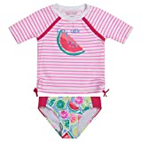Tommy Bahama Girls' 2-Piece Shirt and Bikini Bottom Swim Set, Watermelon, 18MO