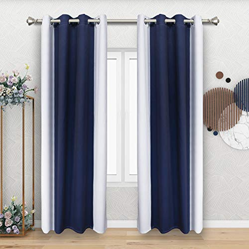 FLOWEROOM Color Block Blackout Curtains for Bedroom, 52 x 84 Inch Long, Navy and White – Thermal Insulated and Sun Light Blocking Gradient Curtain, Grommet Window Curtains, Set of 2 Panels