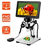 Riiai 7 inch Microscope, 1080P LCD Digital Microscope with Wired Remote,1200X Magnification Handheld