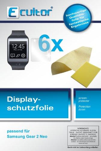 Ecultor I 6x Schutzfolie klar passend für Samsung Gear 2 Neo Folie Displayschutzfolie