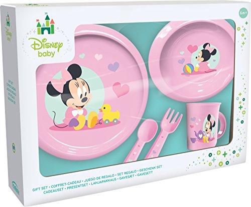 Ciao- Minnie Disney Baby Set Pappa 5 Pezzi Piano, Piatto Fondo, Tazza, forchetta, Cucchiaio, Rosa, 33541