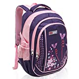 MGgear 18 Inch Butterfly Student School Book Bag/Children's Backpack - Purple