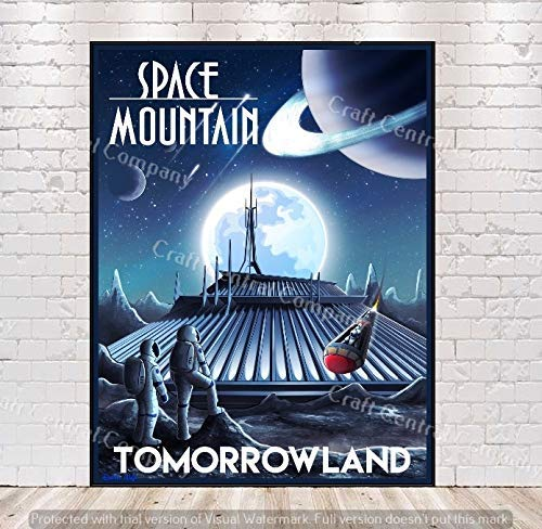 Disney Space famous Mountain Poster Posters M Vintage Popularity Attraction