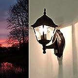 """RUSTICO Lanterna da giardino"""" Tirol"""" in nero con sensore di movimento / E27 fino a 60W 230V/sensore regolabile/SENSORE LUCE PER ESTERNI LAMPADA DA PARETE CORTILE GIARDINO ILLUMINAZIONE"""