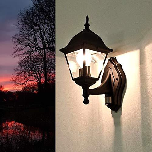*Rustikale Wandleuchte in schwarz inkl. 1x 12W E27 LED Wandlampe aus Aluminium für Garten Terrasse Garten Terrasse Lampe Leuchten Beleuchtung*