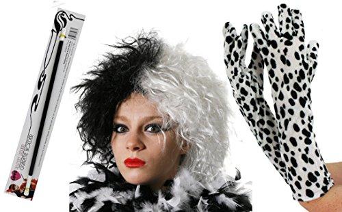 Jeux d'accessoires de la femme cruelle fanatique des chiens dalmatiens blancs tachetés de noir. Une perruque noir et blanche + une paire de gants blancs tachetés de noirs + un fume cigarette.