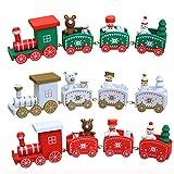 Spielzeugeisenbahn Holz kleiner Zug Weihnachtszug Weihnachten Neujahr Deko Dekoration Ornament für Kinder Mädchen Junge Spielzeug Geschenke Tassenhalter der WeihnachtsZug (Weiß) - 3