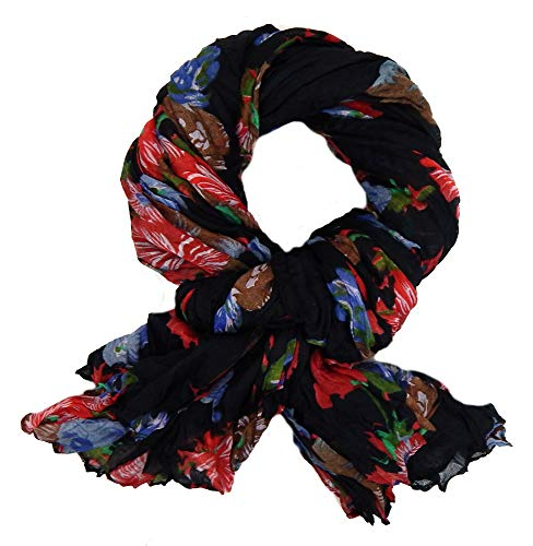 Ella Jonte Écharpe Foulard Femme florale noir rouge bleu