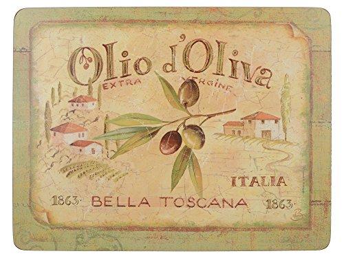 """Creative Tops tovaglietta all'Americana """"Olio d'Oliva"""" tovagliette di Alta qualità in Sughero, Colore Verde, 6 Pezzi"""