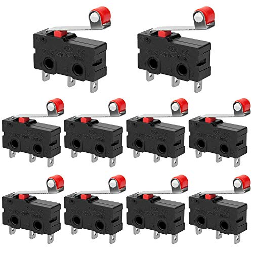 InduSKY 10Pcs Micro Limit Switch with Momentary Roller Lever Arm AC 250V 5A SPDT 1NO 1NC Snap Action Micro Switches
