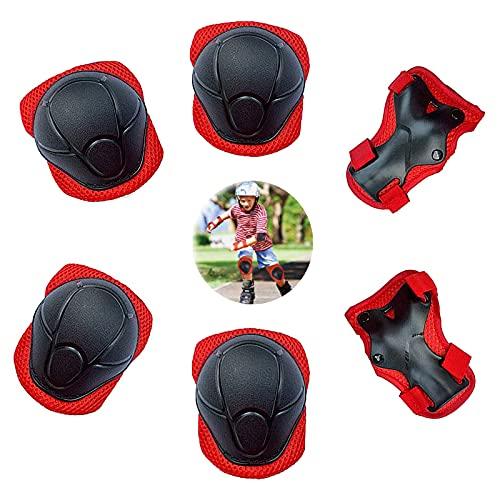 Set de Protección De Muñeca Equipo de Protección 6 En 1 Rodilleras Ajustables para Niños Juego de Protecciones Infantil Protección Infantil para Material Deportivo para Patinaje Ciclismo Patin